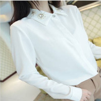 Exquisite diamond buttons comfortable fashion casual women's clothing thick chiffon blouse