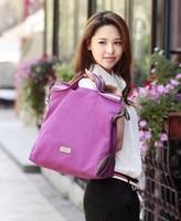 Large capacity women's handbag fashionable casual canvas bag Purple Shoulder Bag Tote Free Shipping BFK010881