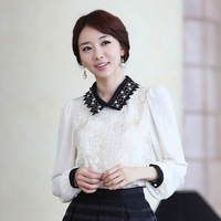 The new spring and autumn lovely sweet chiffon lace embroidered shirt