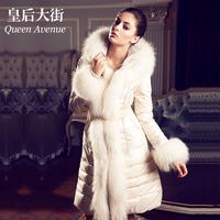 Fashion women's swandown thickening ultra long slim fur coat down y020