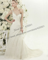 2014 New High Quality Vintage Lace Mermaid One Shoulder Wedding Dress Bridal Gown