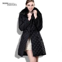 New arrival 2013 plaid large fur collar down coat medium-long female slim women's