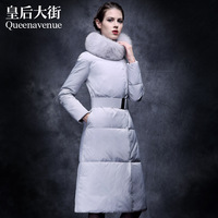 2013 winter fur fox fur slim down coat female ultra long y318