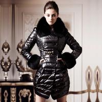 Long design fox fur down coat slim fur female y013