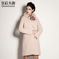 Intellectuality fox fur wool overcoat woolen outerwear d216