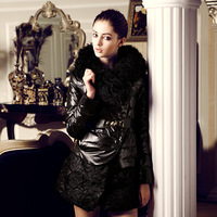 New arrival lace large fur collar medium-long fur down coat female y012