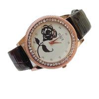 Hot Market! New Fashion High Quality Alloy Rhinestone Studded Rose Leather Quartz Watches Women