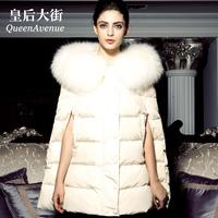 Fashion women's large fur collar medium-long cloak fur down coat female y034