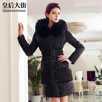 Large fur collar long slim design fur down coat female y008