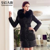 Large fur collar long slim design fur down coat female y008