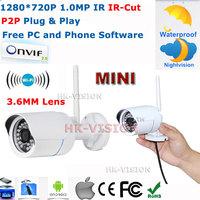 ONVIF Mini P2P 1.0MP HD WiFi wireless IP Cam Outdoor Waterproof IP66 CCTV Security Network IR-Cut IP Camera 720P Plug and Play