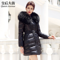 Large fur collar long slim design thickening fur down coat female y050