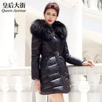 Large fur collar long slim design thickening fur down coat female y050