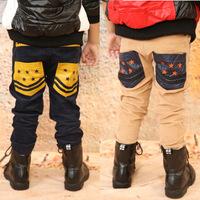 New Stylish Children Corduroy Casual Pants Cotton Kids Trousers Korea Stars Leather Pockets Unlined Pants Elastic Waist KP-1318