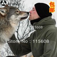 Tactical male outdoor jacket pants ptu hood fleece clothing fleece outerwear outdoor thermal fleece clothing male