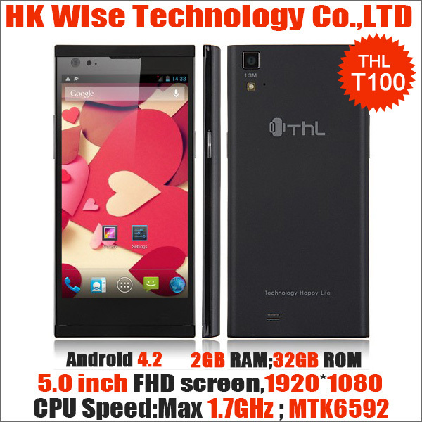 Original 5.0.inch THL T100 Android 4.2 MTK6592 Octa Core Smart 3G Cell Phone,Ram 2GB+Rom 32GB 13.0MP OGS NFC OTG 1.7GHZ(China (Mainland))