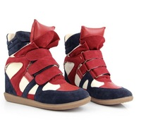 2014 fashion Newly Isabel Marant Women's Velcro Strap High-TOP Sneakers Shoes Ladys Ankle Wedge Boots