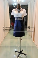 free shipping 2014 new arrival vestido de festa crystal beaded v- neck sexy cap sleeve elegant short unique evening party Dress
