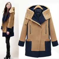 2013 Winter Women's Lamb Wool Jacket Coat Thicken Hooded Woolen coat Color Block Warmth Overcoat Wholesale!