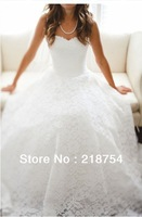 Free Shipping Elegant Sweetheart A-line White Lace Pleats Floor Length Wedding Dresses Bridal Gown Long amanda novias 2013