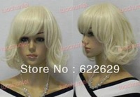 Natural Kanekalon Fiber Hair New Beautiful Short Blondes curly Lady's Cosplay Party Hair Wig