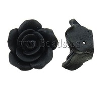 Free shipping!!!Polymer Clay Beads,Top Selling, Flower, black, 20x11mm, Hole:Approx 1mm, 100PCs/Bag, Sold By Bag