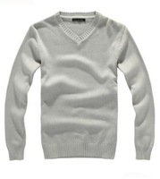 2013 winter new men's pullover sweaters gplus size sweater brief basic knitted pullovers black gray M L XL 2XL 3XL 4XL 5XL