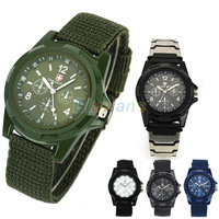 Min. 16 New Solider Military Army Men's Sport Style Canvas Belt Luminous Quartz Wrist Watch 4 Colors