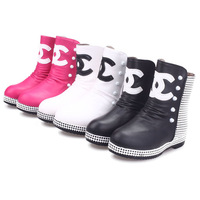 free shipping 2014 little winter  girls shoes  rivet thermal girls boots princess leather children boots