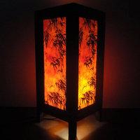 Asian Oriental Dawning Sunset Japanese Art Bedside Desk or Table Lamp or Bedside Wood Paper Light