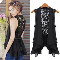 Fashion Sexy Women Chiffon Vest Lace Sleeveless Waistcoat Perspective and Slim Outerwear 8653