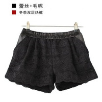 Autumn and winter shorts female Size fits all autumn and winter shorts lace woolen material pocket shorts