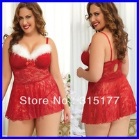 Free shipping Plus Size Sexy Christmas Lace Babydoll and Thong Lingerie Set Sexy Santa Costume 2013 wholesale 10pcs/lot 2993P