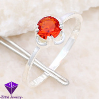 HR0598 5.8CT cherry red topaz engagement cz ring silver stone jewellery for women ring size 7 .925 silver 5 pcs women jewerly