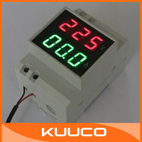 DIN-RAIL Slide Way AC Digital Led Voltage Current Monitor AC 200-450V AC 0.2-99.9A Red/Green Voltmeter Ammeter 2in1 #100201