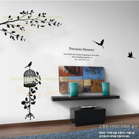 (Minimum order $5,can mix) Popular Removable Bird On The branches  For House Decor Wall Stickers Wall Mural Stickers Y1478