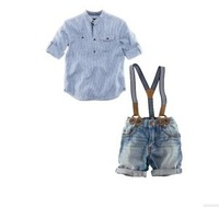 RC0001 Free shipping gentleman children suits fashion baby boys clothing kids 2 pcs set casual shirt + jeans with braces retail