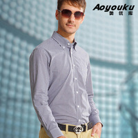 [Sophie Beauty] Ayk quality summer thin male 100% long-sleeve slim shirt cotton fashion plaid shirt small