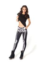 Free shipping Black-matrix white skeleton black spandex legging  leggings leg milk bones