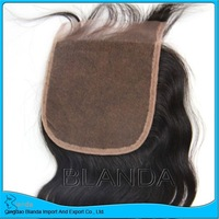 hot sale 4x4 closure bleached knots lace closures malaysian body wave with silk closure and lace closure