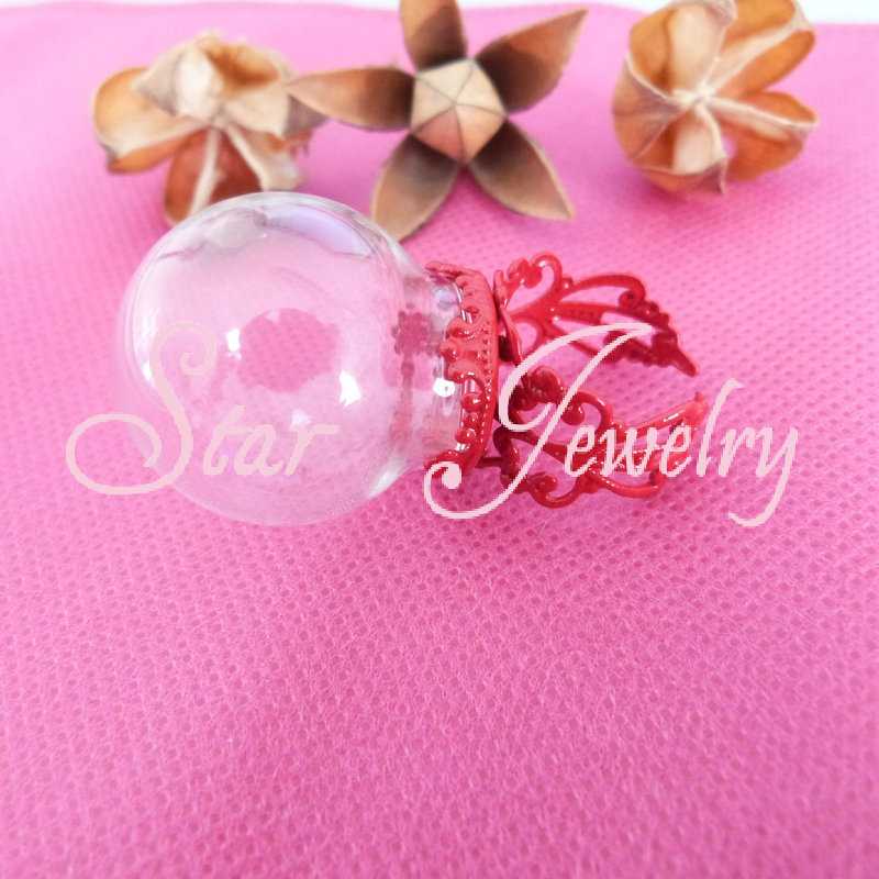 15X25mm Glass bubble vial+Red color crown adjustable ring base/HB(China (Mainland))