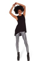 Free shipping Women's Clothing Black and white vertical stripe legging trousers female leggings wholesale
