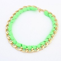 Europe tide chain webbing fluorescent colors short necklace X5076