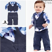 RC0004 Free Shipping Baby Boy 3pcs Suits Long Sleeve Shirt+Vest+Pants Kids Spring Autumn Clothes Children Gentleman Suit Retail