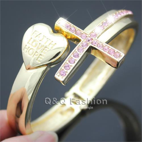 Gold Cross Crystal Pave Heart Faith Love Hope Carved Hinged Bracelet Bangle Cuff Jewelry Free Shipping(China (Mainland))
