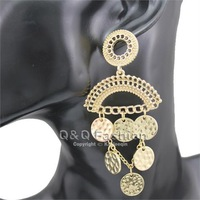 Gold Multi Hammered Disc Curb Chain Pattern Curve Chandelier Earrings Ear Stud Jewelry Free Shipping