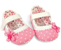 Pink Dots Soft Soled Girls Baby Toddler Ribbon Infant Anti-slip Shoes 0-18 Month