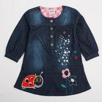 Free Shipping 18m-6y  2013 new baby girls lovely cotton dress hot sale casual dresses with print and embroidery