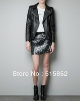 women locomotive leather Metal rivets suede black jackets women coat esigner brand 13703