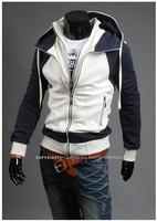 High quality double zipper men's hoodies splicing sleeve cotton sportwear coat outdoor wear new design free shipping